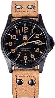 Xiangjin Wrist Watches,Men Watch Leather Strap Watches Sport Quartz Military Wristwatch Gifts Birthday Anniversary