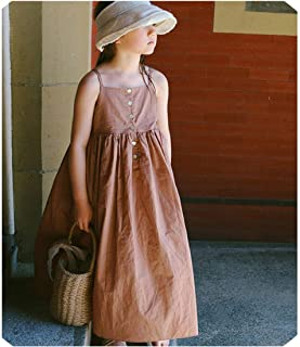 Long Big Girls Dress Summer New Cotton Sleeveless Loose Party Dresses for Girl Baby School Children Dress Clothing,Kids Party Dress,4T