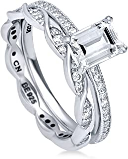 BERRICLE Rhodium Plated Sterling Silver Emerald Cut Cubic Zirconia CZ Solitaire Engagement Wedding Ring Set 1.39 CTW
