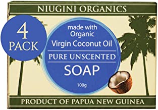 Niugini Organics Virgin Coconut Oil Soap - 4 Pack Pure Soap bars. Multi Award Winner.