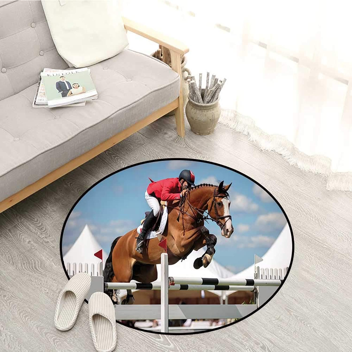 Horse Decor Living Room Round Rugs Jumping Horse and Sportsman Race Competition Performance Success Winning Event Sofa Coffee Table Mat 4'3  Multicolor