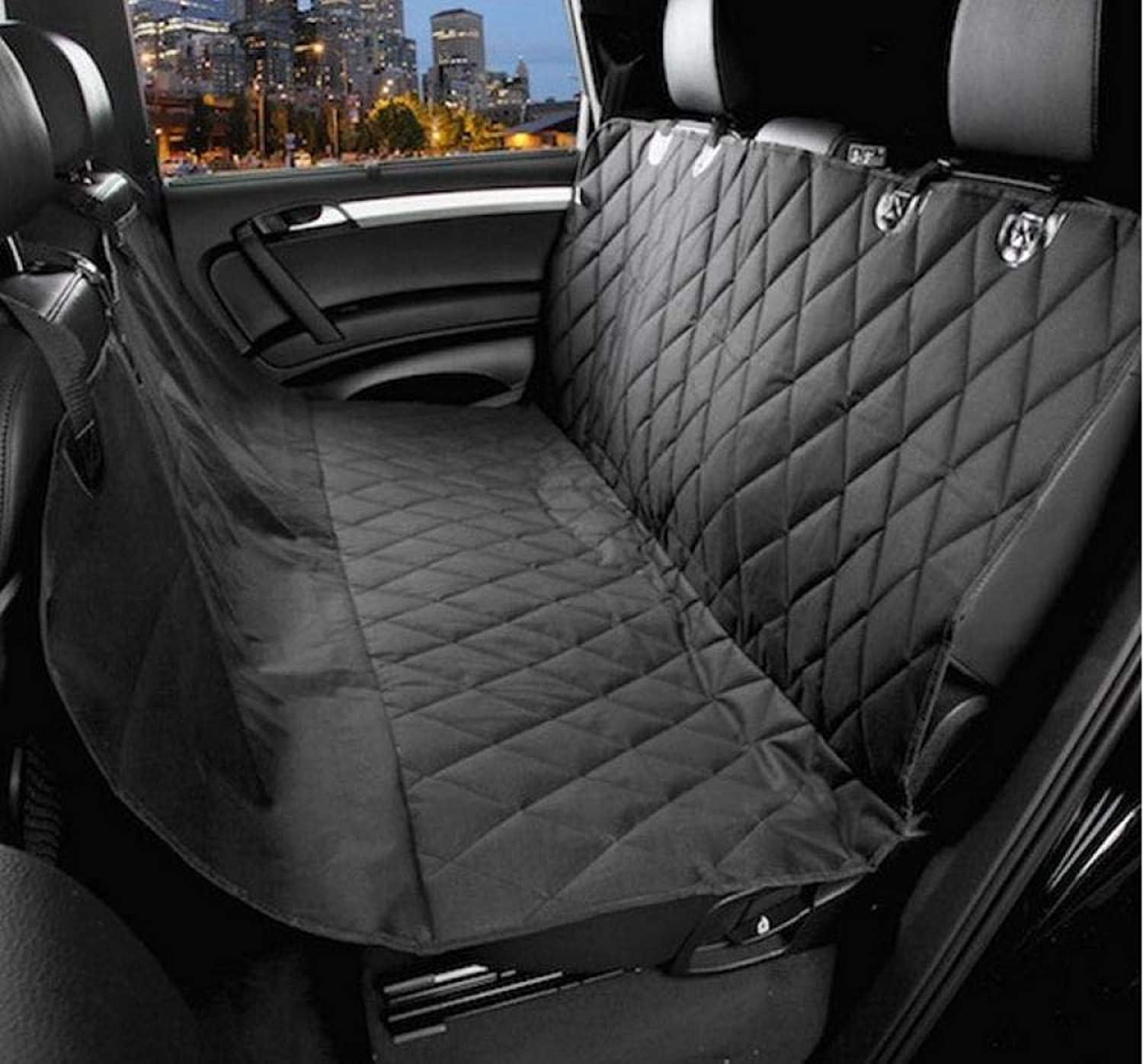 QWERTLH Dog Car Seat Covers Rear Car Seat Waterproof Nonslip Dog Hammock Pet Seat Predector For Cars,Black