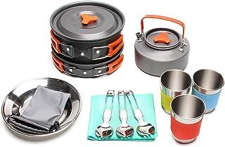 JACKBAGGIO New Outdoor Camping Pan Backpacking Camping Cookware Mess Kit Hiking Cooking Picnic Bowl Pot Pan Sets w/Tablewa...