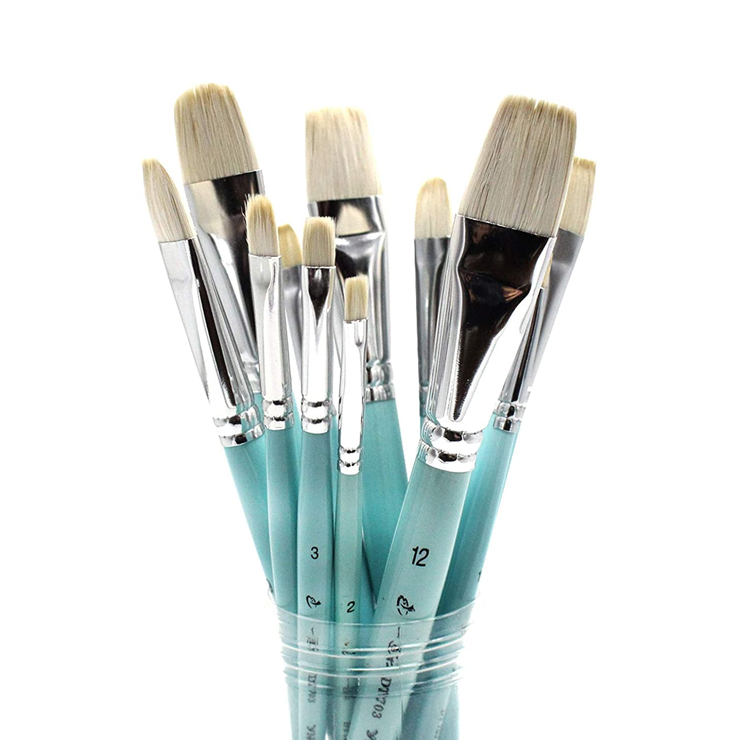 Mitini Acrylic Paint Brush Set, 6Pcs Filbert Flat Goat Hair Painting Brushes for Watercolor Gouache Oil Face and Body Craft Miniatures Painting Professional Art Paintbrushes