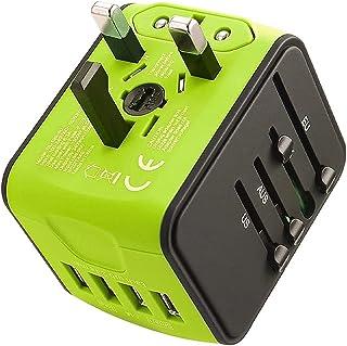 LEDLUX ESE026 Adattatore Universale da Viaggio con Presa EU UK USA aus CN con 4 Caricatore USB 5V 2,4A Max Ognuno Supporta...