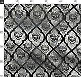 Totenkopf, Krone, Halloween, Gothic, Geometrisch Stoffe -