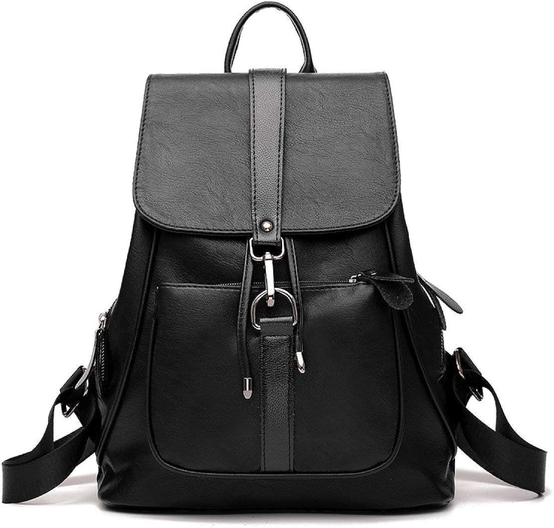 Rucksack Reißverschluss Große Kapazität Handtaschen Wild Lässig Rucksack Sommer PU Leder Schultasche, Schwarz-OneGröße (Farbe   Schwarz, Größe   Einheitsgröße) B07KNXPGTL  Ausgezeichnete Funktion