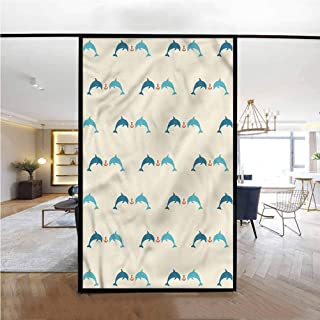 Glass Sticker Window Sticker,Dolphins Cruise Vacation,Office Privacy Glass Film Sticker Removable 23.6 x 47.2 inches