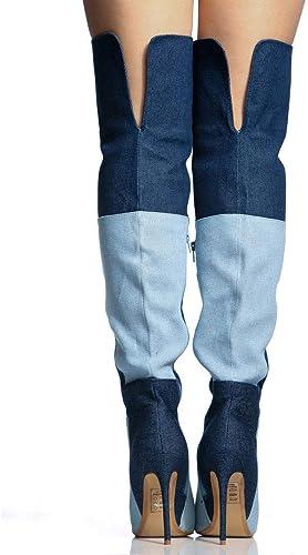 GBX Farbeblock Denim Overknee Stiefel Frühling und Herbst Patchwork Spitz Schlank High Heel Overknee Stiefel Super High Heel (8 cm oder mehr) Mode Damenschuhe sind für viele Gelegenheiten geeignet,45