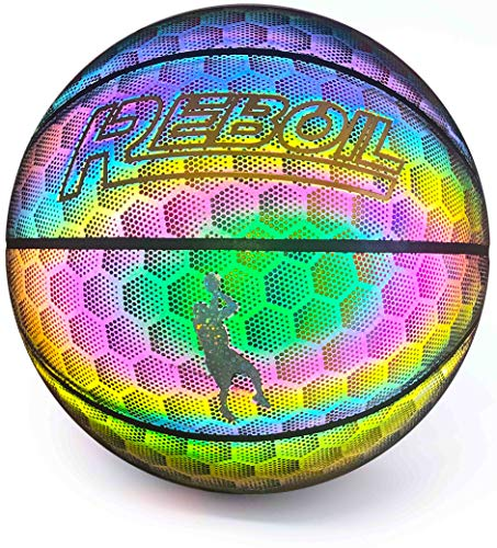 REBOIL Holographic Reflective Basketball The Second Generation of Hexagon Reflective Material Take Cool Pictures and Record Video in Flash Official Size 295