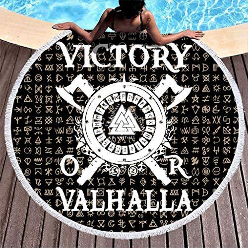 Black Norse Viking Shield Two Axes Valknut Scandinavian Runes Tattoo Victory or Valhalla Print Durable Round Beach Towel with Tassels Mandala Round Fringe Beach Throw Circle White 59 inch