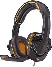 OEX Hs203 Headset USB Target, Controle de Volume no Cabo, Preto/ Laranja