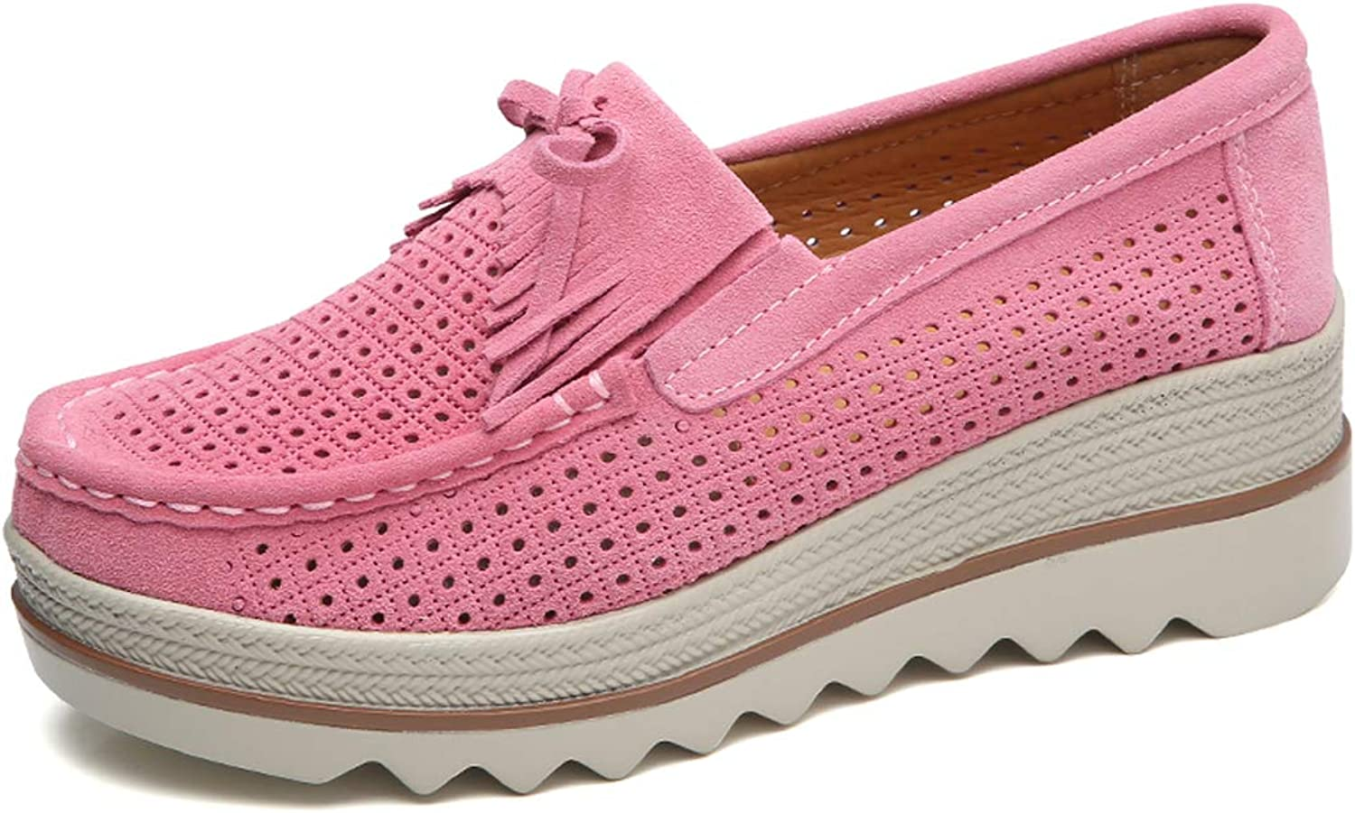 Ruiatoo Women Platform Slip On Loafers Comfort Genuine Suede with Tassel Hollow Out Low Top Moccasins Pink 40