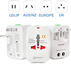T POWER International Travel Work for 150+ Countries 110~220 Volt Worldwide use at UK Japan China EU US EU UK AUS Europe All in One Universal Travel Adapter Charger Plug