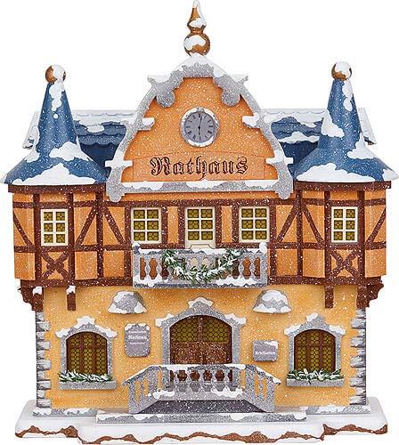Hubrig Volkskunst Winterhaus Rathaus - 21 cm