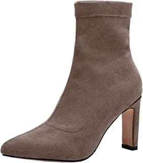 ELEEMEE Women Fashion Chunky Heel Stretch Boots