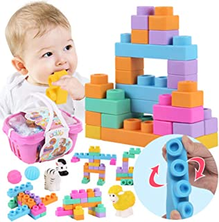 Baby Teethers Soft Silicone Chewable Pencil Toppers Chewy Tubes Fidgets BPA Free Building Blocks Baby Teething Toys 26pcs