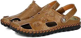 Sandales de Marche Homme Été Cuir Randonnée Fermées Plage Fisherman Leather Chaussures Décontractées Respirant