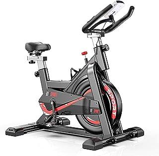 Bicicleta de ejercicio con monitor de ritmo cardíaco, pantalla LCD, sensores de pulso, bicicleta giratoria súper silenciosa para fitness en el hogar