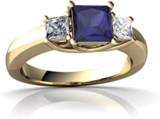 14kt Gold Sapphire and Diamond 5mm Square Three Stone Trellis Ring