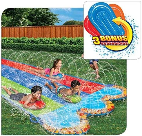 new arrival Banzai Triple Racer  new arrival 16 Ft Water Slide-with 3 bodyboards online included outlet online sale