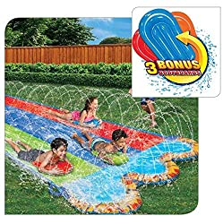 top 10 slip and slides Banzai Triple Racer 16ft Waterslide, Includes 3 Bodyboards
