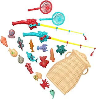 TOYANDONA 1 Set Magnetic Fishing Game Toy Fish Catching Counting Preschool Board Games Toys with Basket Funny Education Bi...