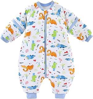 Bebé Saco de Dormir para Niños Niñas Manga Separable con Piernas Algodón Pijama Cremallera Mamelucos Mono Invierno Traje d...