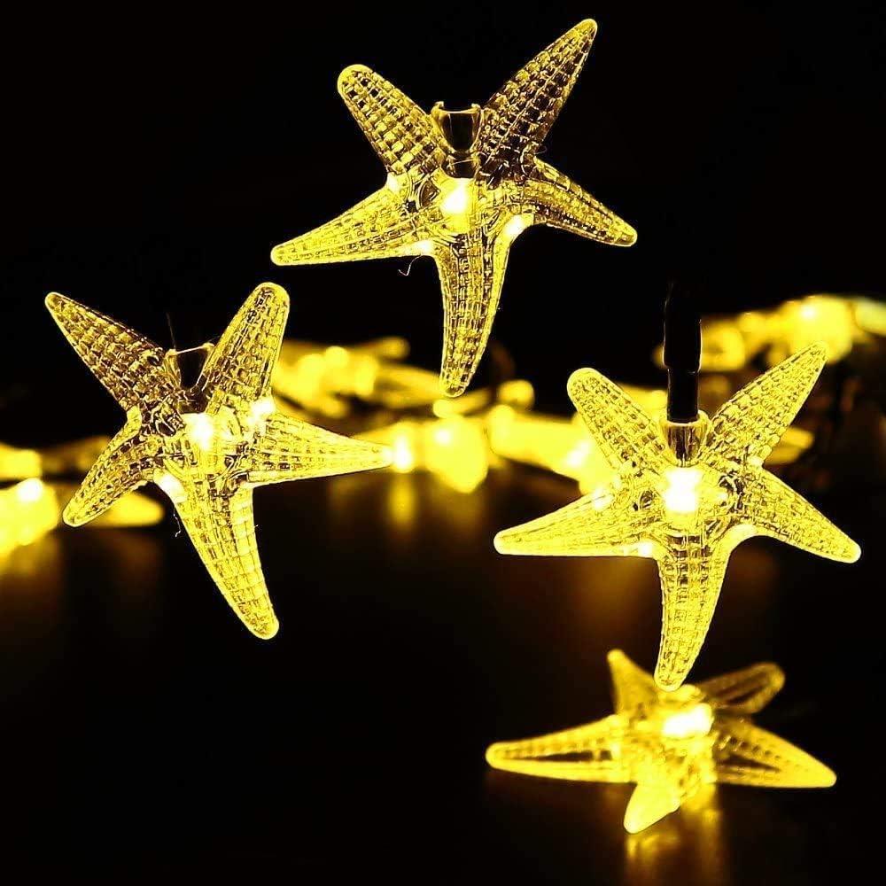 Solarleuchten im Freien, Solar Starfish Light String, 20ft 30 LED Solar Lichterketten Weihnachtsdekor Lampe Innenhof, Partys, Patio Warm White