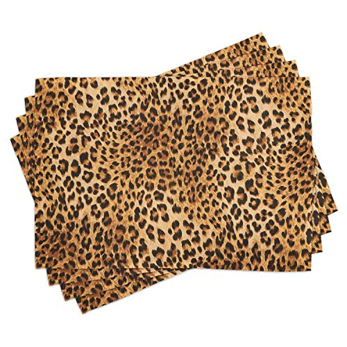 Lunarable Animal Print Place Mats Set of 4, Wild Animal Leopard Skin Pattern Wildlife Nature Inspired Modern Illustration, Washable Fabric Placemats for Dining Table, Standard Size, Brown Yellow