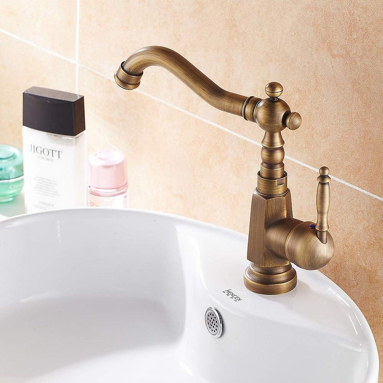 SLTYSCF wasserhahn Einhand-Badezimmer-Hahn-antiker Messing-heier und kalter Wasserhahn 360 Grad-drehender Toiletten-Hahn