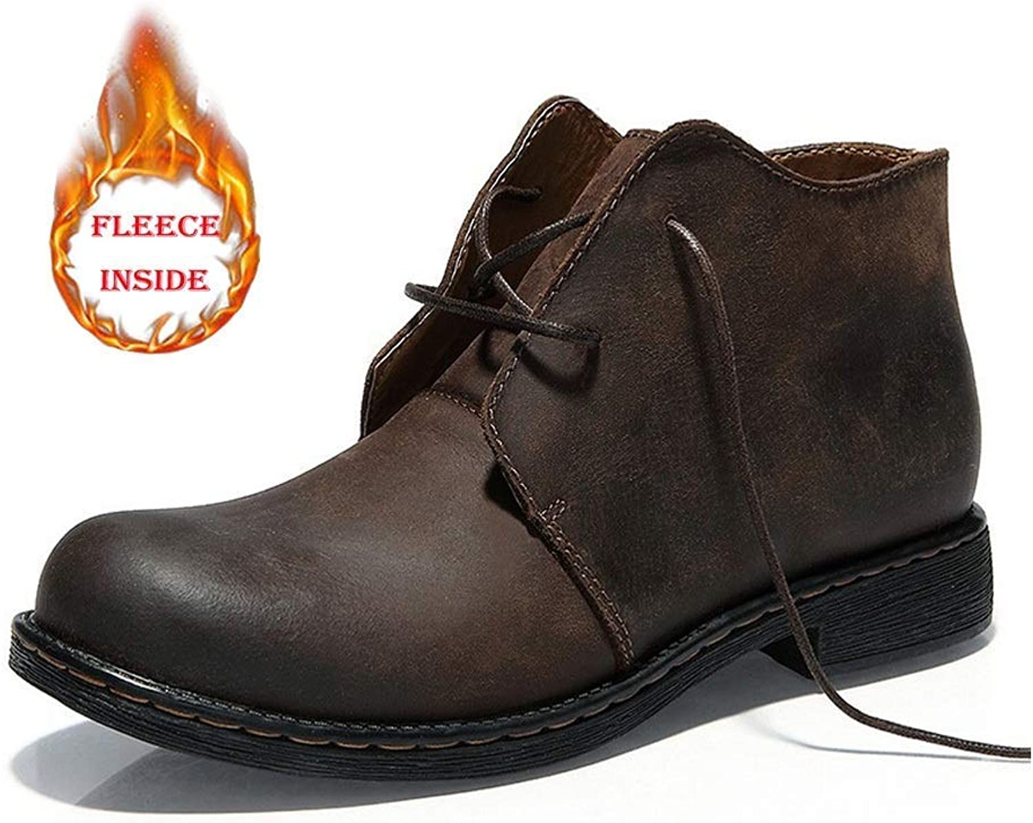 Fuxitoggo Men's Martin Boots, Genuine Leather Lace Up Fleece Lined Work shoes (Normal Option) (color  Warm Black, Size  40 EU) (color   Warm Brown, Size   47 EU)