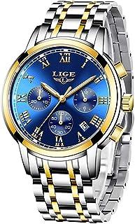LIGE 9810 Men's Watches Movement Business Waterproof Chronograph Full Steel Quartz Luminous Watch