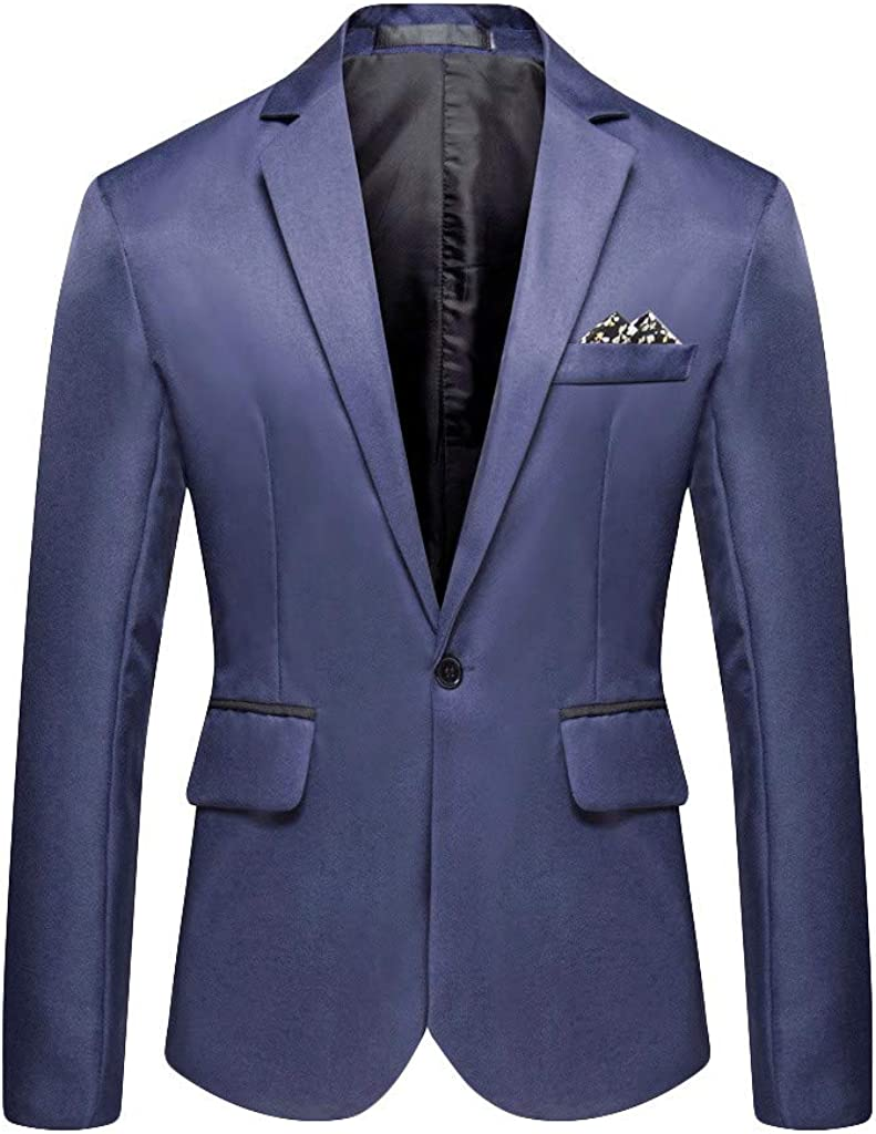 Mens Slim Fit One Button Suit Blazer Casual Jacket D Max 65% OFF Lightweight 2021new shipping free