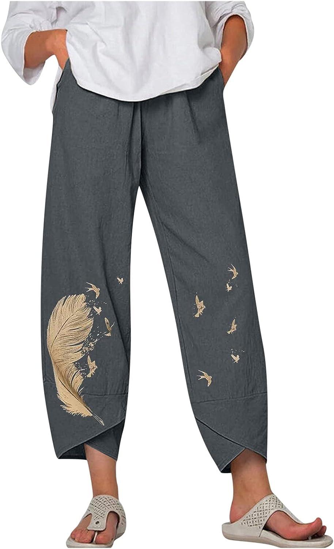 HHoo88 Women Casual Pants Sweatpants Excellent Linen Cotton OFFer Capri Ca