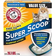 Arm & Hammer Super Scoop Clumping Litter, Fragrance Free 26.3lb (10033200023026)