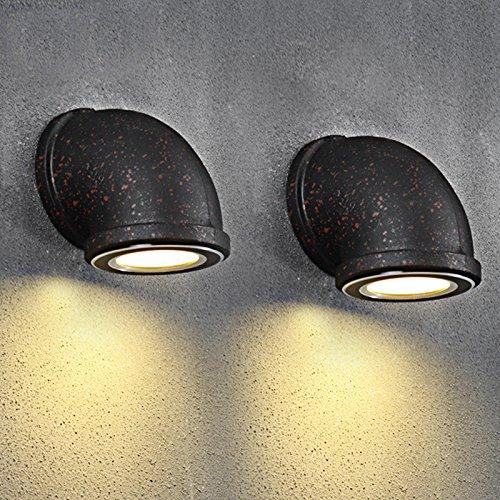 Motesuvar Kreative Persönlichkeit, Mit Der Lampe, Treppe Lampe, Einhändig Rohr Lampe, Retro - Stil, Schmiedeeiserne Wall Lamp,Rostige Eisen Trompete 3Wled Lichtquelle