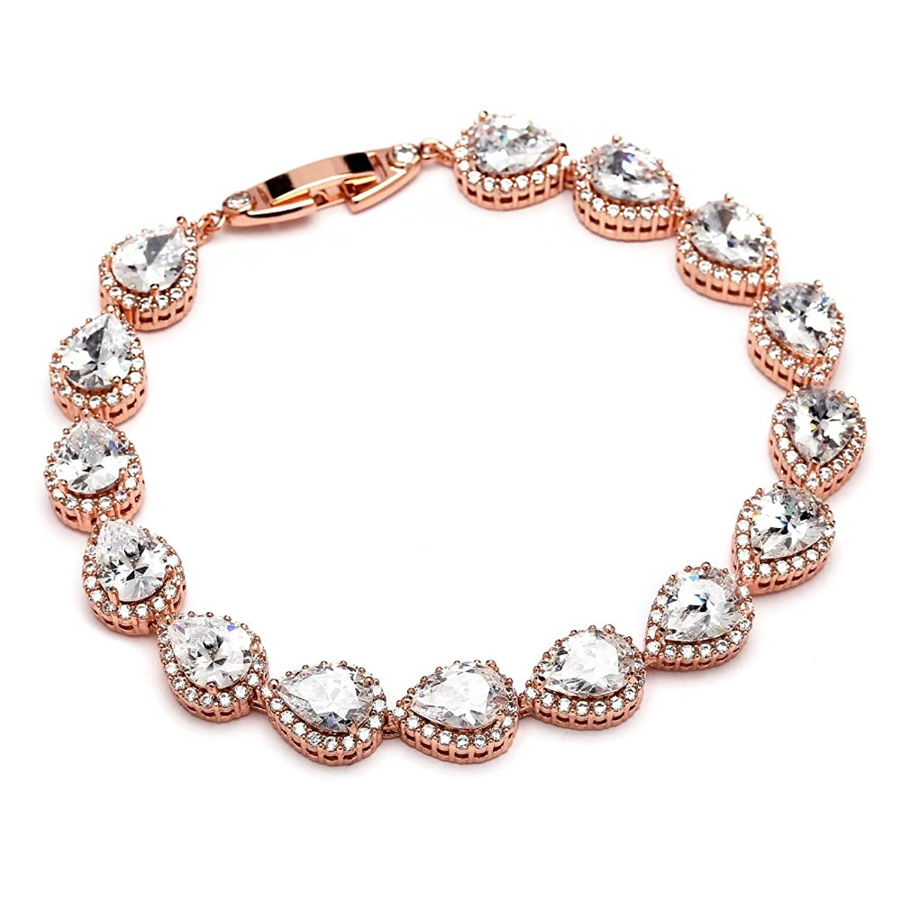 Mariell 14K Rose Gold Plated Pear-Shaped Halo Cubic Zirconia Bridal Tennis Bracelet Wedding Jewelry