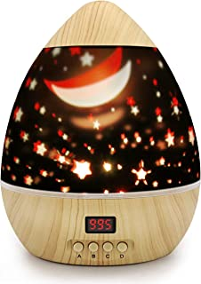 Night Light Star Moon Projection Lamp,Star Light Projector 360 Degree Rotating with Timer Auto Shut-Off For Kids Bedroom,4 Led Bulbs With Multiple Colors (Wooden Grain)