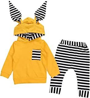 Cenhope Baby Boys Striped Outfits Infant Girls Rabbit Long Sleeve Hoodies + Pants Set Animal Costume