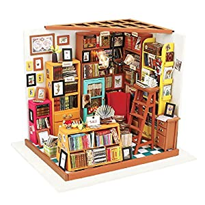 RoWood Wooden DIY Miniature Dollhouse Kit with Furniture and Accessories, 1:24 Scale Library - Sam's Study
