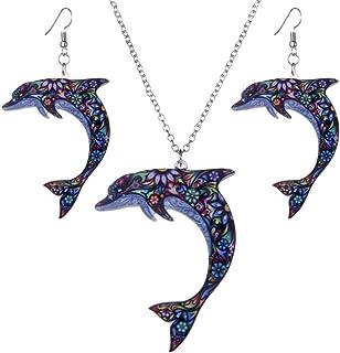 Bijoux compatible avec bracelets Pendentif dauphin en /émail bleu et argent sterling 925 pour f/êtes des m/ères,/pendentif en forme danimal