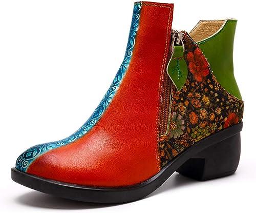 Ruiyue Bottes de Femmes, Chaussures en Cuir Confortables Super Confortables Confortables de Style de Couture de Copie de Fleur de Conception de Chaussure pour des Les Les dames (Couleur   Orange, Taille   37EU)  sélectionnez parmi les dernières marques comme