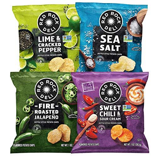 Red Rock Deli Kettle Style Potato Chips, 4 Flavor Sampler Variety Pack