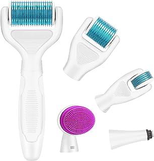 Dermaroller, Kastiny 6 in 1 Micronadeln Derma Roller für Gesichtspflege mit Micro-Needling, aus Edelstahl Micronadeln für Anti Falten, Schwangerschaftsstreifen, Haarausfall und Anti Falten, Blau