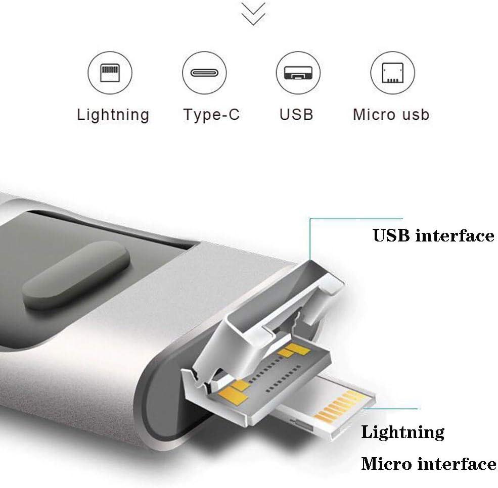 Aceyyk USB Flash Drive 128GB,USB C Thumb Drive for I Phone Flash Drive Photo Stick 4In1 USB2.0 External Drive Compatible I Phone I Pad MacBook USB C Android and PC,Black,128GB
