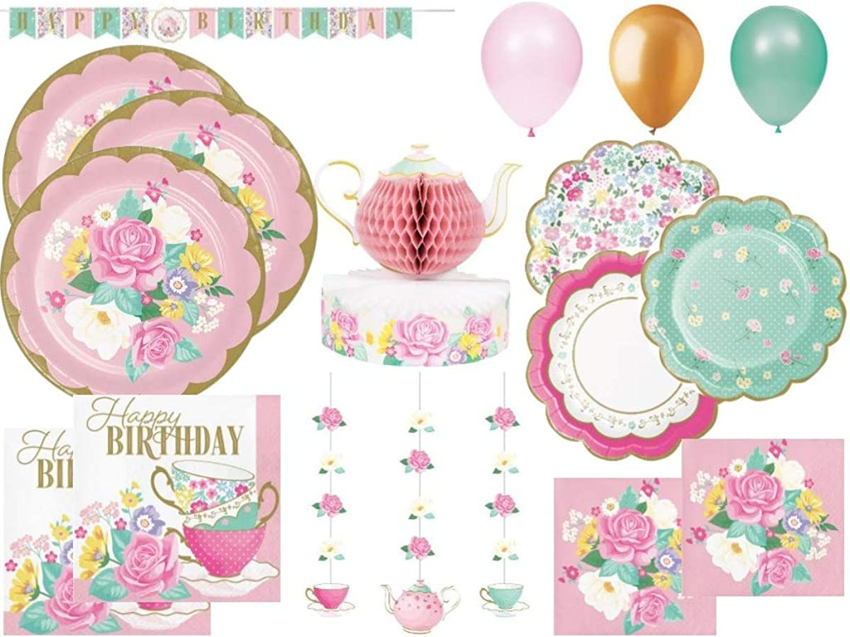 Girls Floral Tea Party Birthday Party Supplies Bundle: Includes Plates, Napkins, Centerpiece, Banner, Hanging Cutouts and Balloons | 24 Guests | 129 Pcs