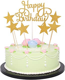 LXZS-BH 7 Pack Glitter Letters Happy Birthday Cake Topper Decorations (Glitter Gold)