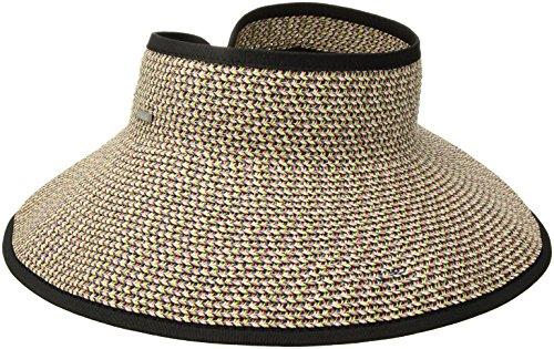 San Diego Hat Company Women's Ultrabraid Visor with Ribbon Binding, and Sweatband, Mixed Black/Bright, One Size
