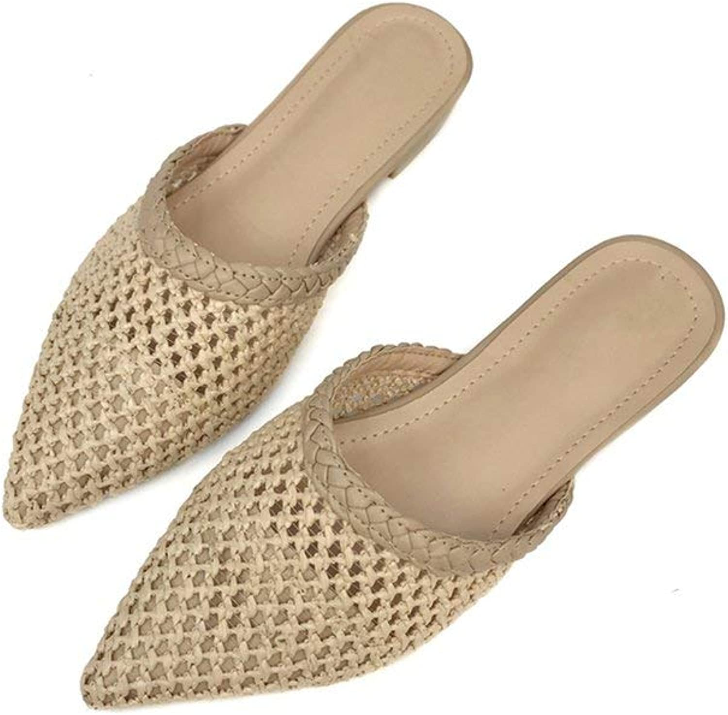 HuaHua-Store Women Pointed Toe Low Heel Slide Sandals Summer Slippers Cane Woven Beach shoes Mule Slippers